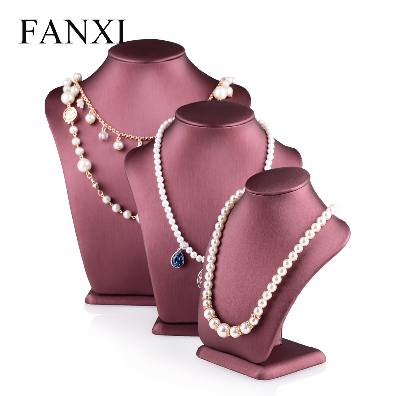 Wholesale China factory Custom logo and height jewellery display holder dark red PU leather necklace mannequins