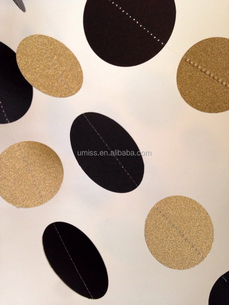 Glittery Gold and Black Paper Circle Garland, handmade paper garland party decorations