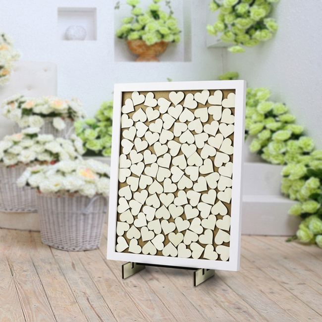 2018 latest Rustic heart wood wedding guest book