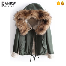 Wholesale Trendy Oversized Women Army Green Thickening Collar Coat