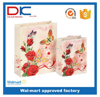 Hot butterfly design recycle fasion gift paper bag for gift packing and shopping
