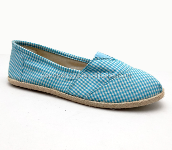 stylish lady slip on shoes,comfortable canvas shoes,cheap injection shoes rope-sole