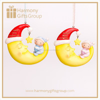 Baby Shower Polyresin Figurines Sitting on Smile Face Moon Resin Ornament