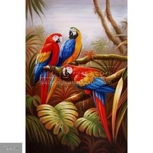 100% Handmade Famous animal oil painting of parrots on canvas, Amazon Parrots, III