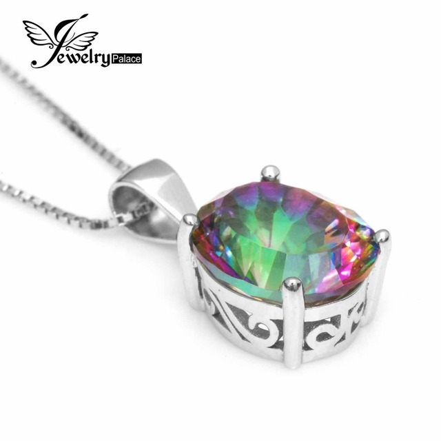 3.5ct Genuine Nature Rainbow Fire Mystic Topaz Pendant Oval Concave Cut Pure Solid 925 Sterling Silver Fashion Jewelry For Women