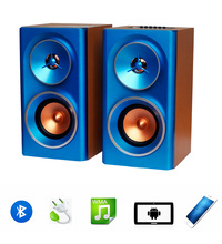 Portable AC220V Bookshelf stereo output wooden USB TF card EQ music player Hi-Fi system wireless bluetooth speaker