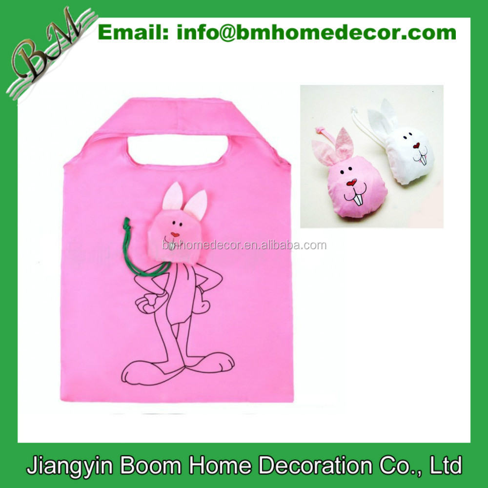 190T Polyester Cheap Promotional Grocery Shopping Reusable Rabbit Foldable Bag