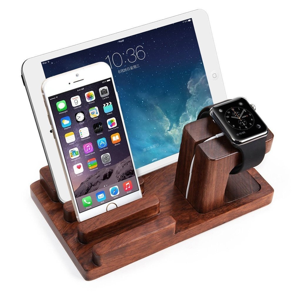 cherry wood smartphone holder <strong>stand</strong> for apple watch iphone