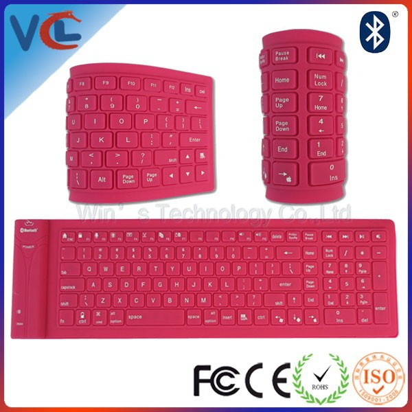 Flexible Silicone Foldable Wireless Bluetooth Keyboard For Ipad Tablet