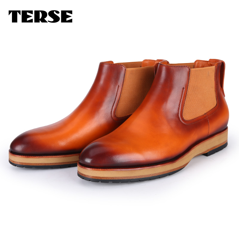 TERSE 2017 boots men genuine leather patina shoes custom design handmade Italian leather shoes