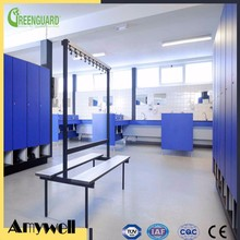 Amywell FREE SAMPLES waterproof hpl changing room locker with bench