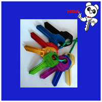 HNXT-Gloden solid aluminum blank keys with colors good quality gloden keys for houses