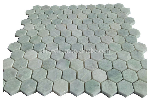 "Ming Green Marble 1"" Hexagon Polished Mosaic Tile"