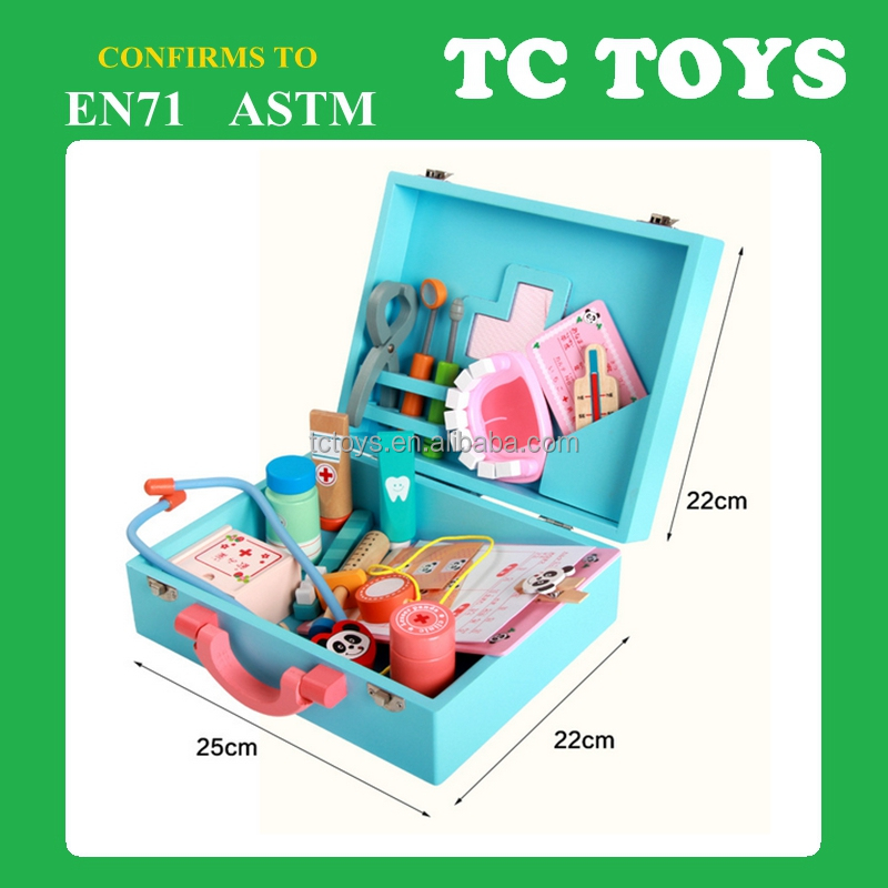 High quality kids mini wooden medicine box toy, wooden doctor toy TC-RP004