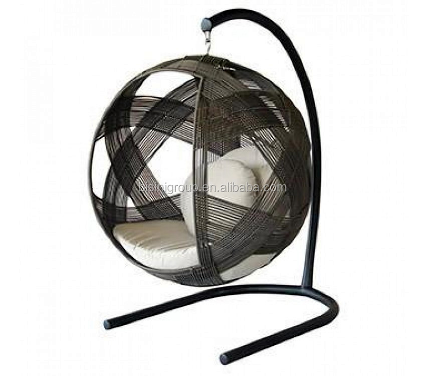 Rattan swing chair wicker hanging chair round hanging for Circle swing chair