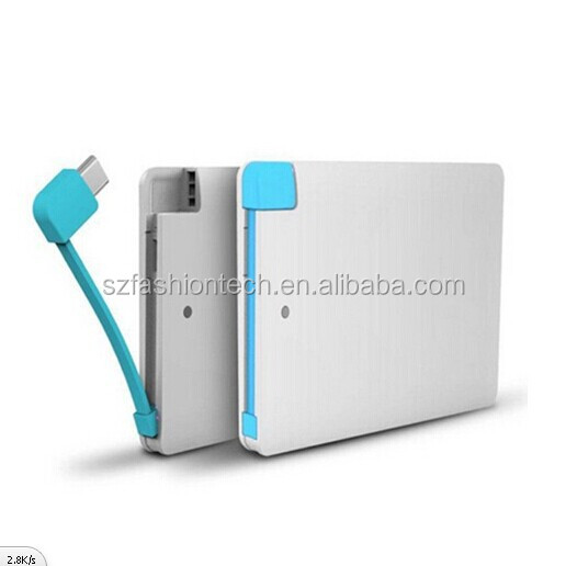 Newest Ultra-thin 6.6mm credit card 2500mah power bank, micro portable charger power bank made in china