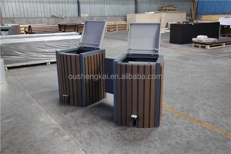 eco friendly park dustbin collector wpc dustbin wood plastic composite single or double
