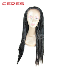 new fashion purely hand Japanese synthetic fiber lace front African braided wigs for black women with baby hair