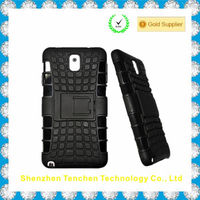 Strong Armor Tire Style Hybrid TPU and PC Hard Stand Bracket Protective Skin Case For Samsung Note3