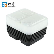 China supplier stackable 3 compartment air-tight storage plastic food container with divider