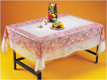 Eco-friendly printed PVC tablecloth with non-woven / flannel backing, 2'' lace , table cover