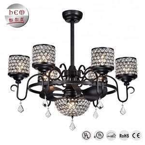 Hotel Decorative Lighting Crystal Chandelier Unique Modern Ceiling Fans With Led Light