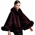 CX-B-P-54C Real Fox Fur Trimmed Pashmina Shawl