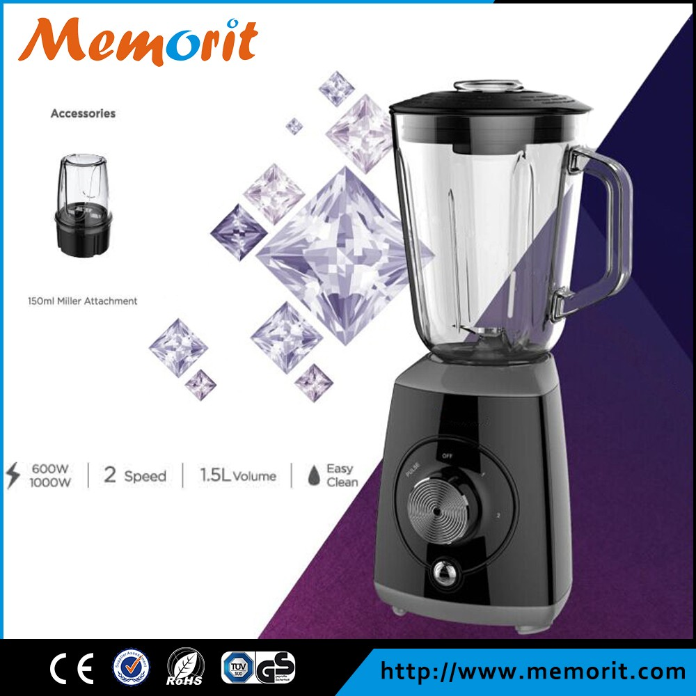 2016 new design quiet blender 1000W table blender with 1.5L jug and 150ml miller