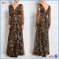 Autumn summer woman casual or formal wear clothes floral-print crinkle chiffon dress chiffon maxi dresses with long sleeves