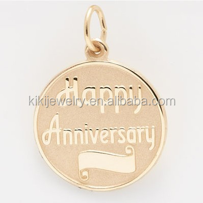 Gold Filled Happy Anniversary Disc Anniversary Charm