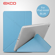 EXCO Tri-folding Smart PU case ultra thin with back cover auto-sleep tablets leather case for iPad mini 4