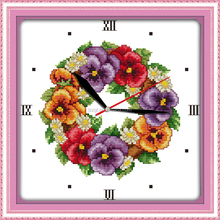 Colored poppies clock face cross stitch kits