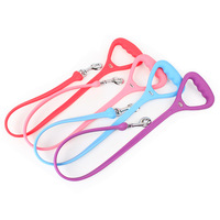 Silicone Rubber Triangle Leash Handles With Metal HooK for all PET DOG CAT