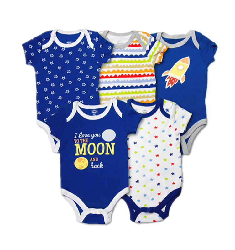 Wholesale Price Printed 100% Cotton Short Sleeve Kids Clothing Newborn Baby Clothes