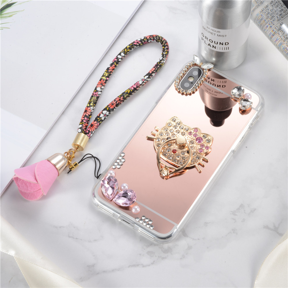 Luxury TPU Diamond Bling Mirror Rotated Ring Stand Case <strong>Cover</strong> For iPhone X 10