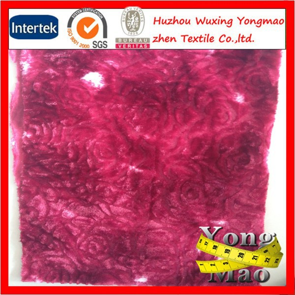 Huzhou manufacturer embossed 100% polyester red low pile plush fabric
