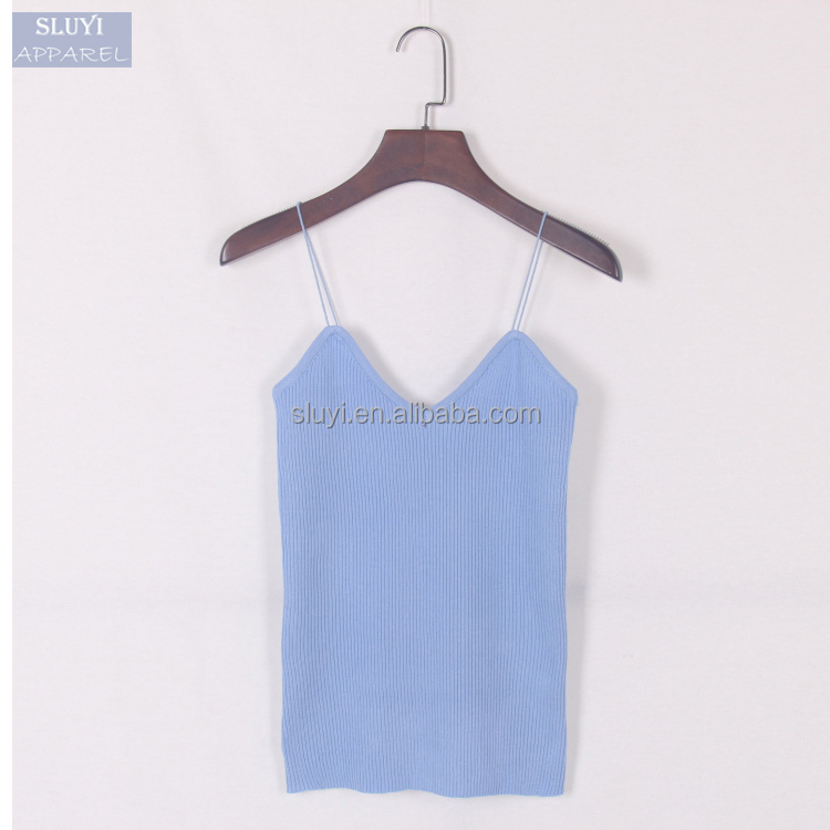 Women Tank Top Summer Elastic Slim Sleeveless Spaghetti Strap Vest Casual Camis Knit sexy short camisoles for women