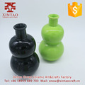 Home decorative glazed hand made fancy top ceramic black flower vase