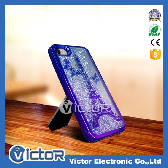 Custom double color Pairs tower electroplating TPU quicksand liquid phone cover case for iPhone 7 case