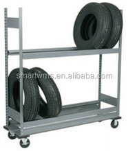Commercial metal mobile tire rack,warehouse storage tire shelf,tire display rac