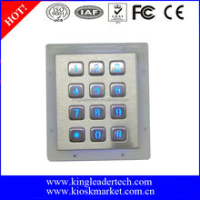 Rugged 12keys metal backlight numeric keypad for door access control system
