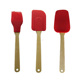 3 pcs silicone kitchen tools Wooden handle silicone cooking tools set