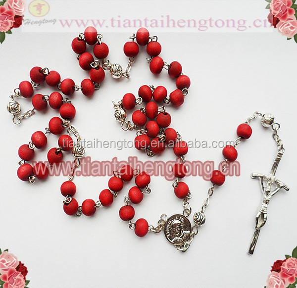 rose rosary, rose scent rosary necklace with alloy rose bead spacer,Pope Francis centerpiece rosary