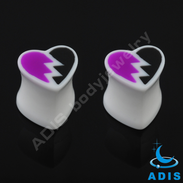 Fashion silicone ear jewelry heart shaped ear tunnel plugs for women