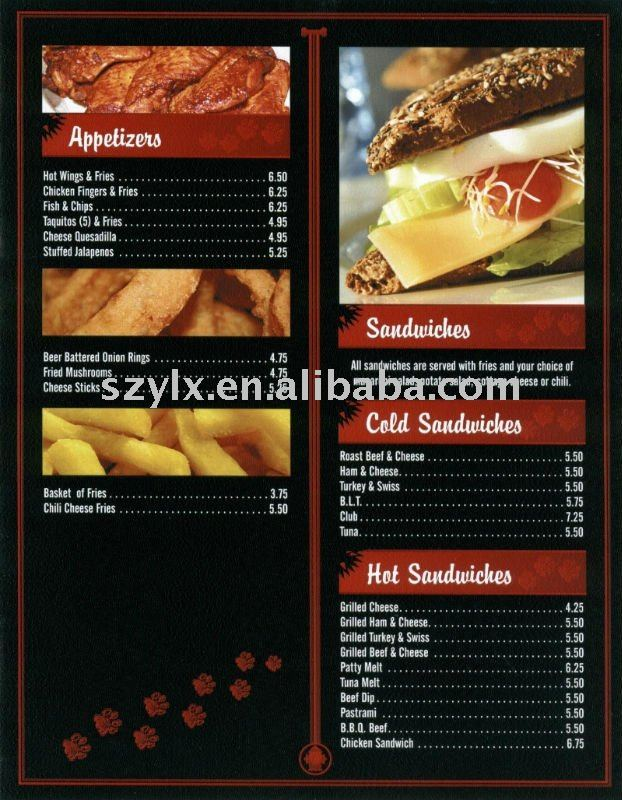 New Style Food Menu Design And Printing - Buy Food Menu Design And