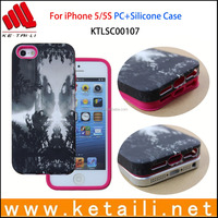 For iphone 5/6/6S PC +Silicone Case With Water Imprint Tech Wholesale Cover Case