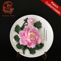 Wall hanging miniature ceramic flowers