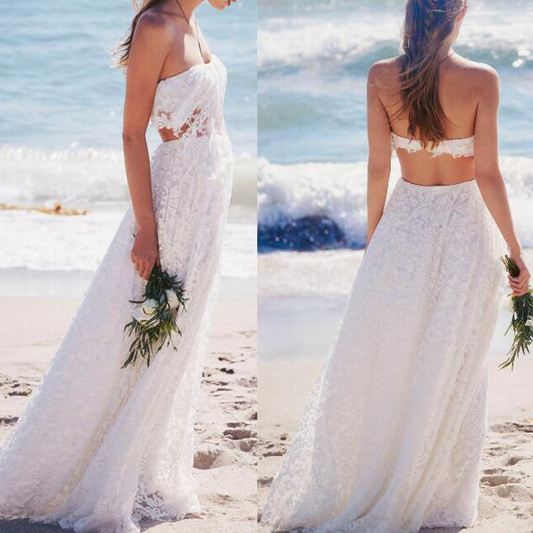Alibaba two pieces beach bridal wedding dress