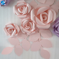 Durable Beautiful Pink and Purple Paper Rose Flower and leaves wall for wedding decoration