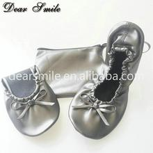 Promotion gift women fold up ballerina style flats foldable ballet shoes cheap price